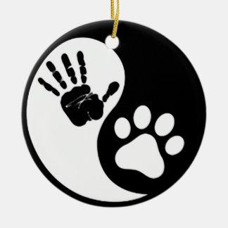 Hand Paw Yin Yang Ceramic Ornament