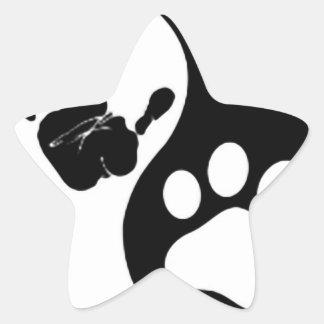 Hand Paw Yin Yang Star Sticker