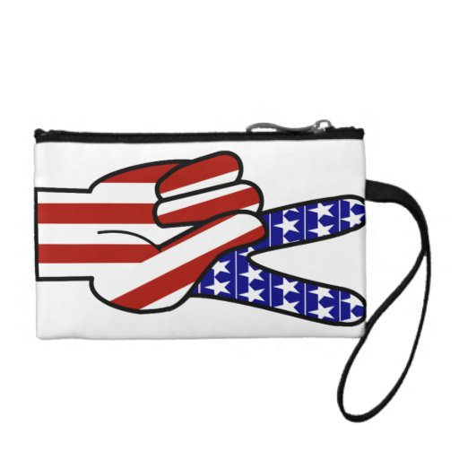 Hand Peace Sign - Red White & Blue Coin Purse