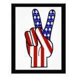 Hand Peace Sign - Red White & Blue Custom Invites