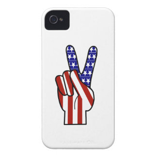 Hand Peace Sign - Red White & Blue iPhone 4 Cover
