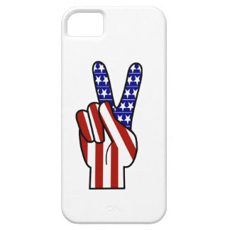 Hand Peace Sign - Red White & Blue iPhone SE/5/5s Case