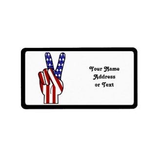 Hand Peace Sign - Red White & Blue Personalized Address Labels