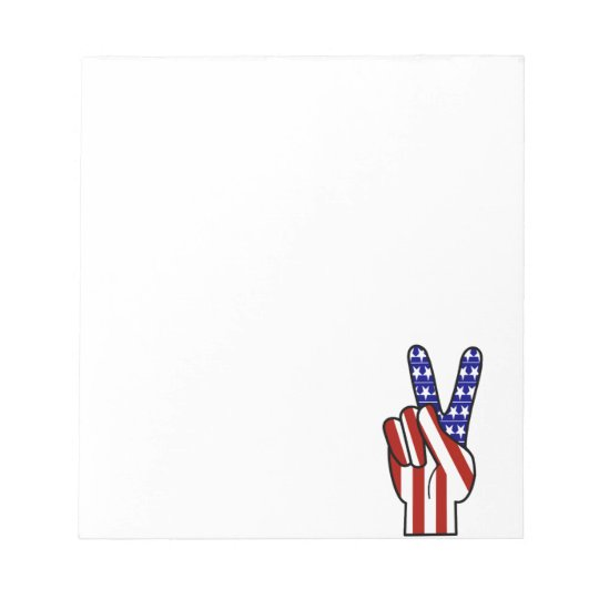 Hand Peace Sign - Red White & Blue Notepad