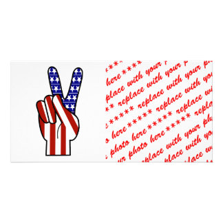 Hand Peace Sign - Red White & Blue Custom Photo Card