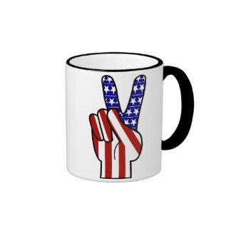 Hand Peace Sign - Red White & Blue Ringer Mug