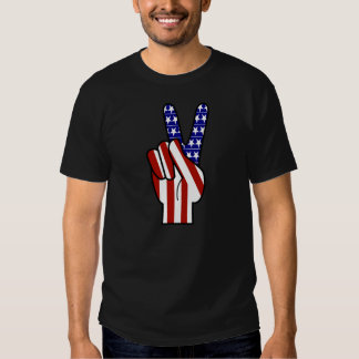 Hand Peace Sign - Red White & Blue Tee Shirt