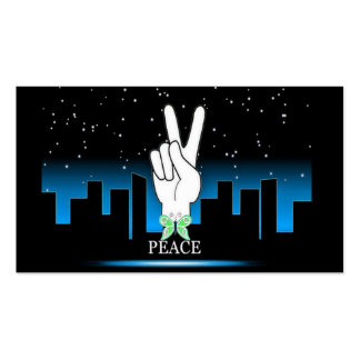 Hand Peace Symbol with a City Background Business Card Templates