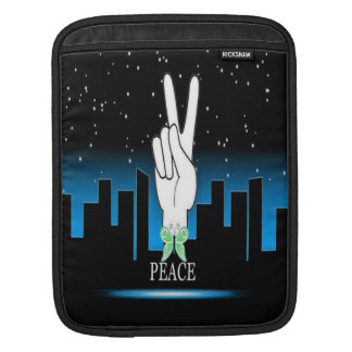 Hand Peace Symbol with a City Background iPad Sleeve