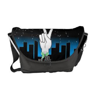 Hand Peace Symbol with a City Background Courier Bags