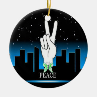 Hand Peace Symbol with a City Background Christmas Tree Ornaments