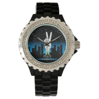 Hand Peace Symbol with a City Background Watch