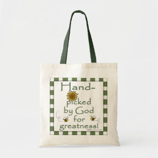 Hand-picked By God-Flower and Bee Budget Tote Bag