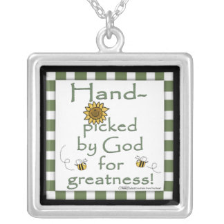 Hand-picked By God-Flower and Bee Square Pendant Necklace