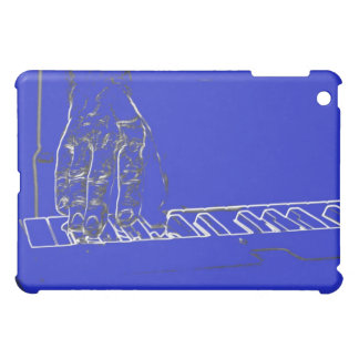hand playing keyboard blue white ink outline iPad mini cases