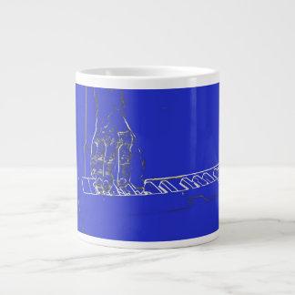 hand playing keyboard blue white ink outline large coffee mug