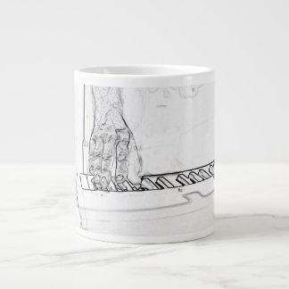 hand playing keyboard bw ink outline giant coffee mug