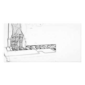 hand playing keyboard bw ink outline photo card template