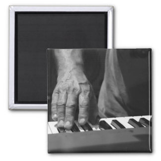 hand playing keyboard bw male music 2 inch square magnet