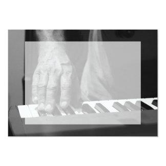 hand playing keyboard bw male music 5x7 paper invitation card