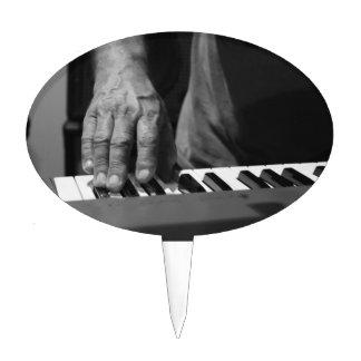 hand playing keyboard bw male music cake topper