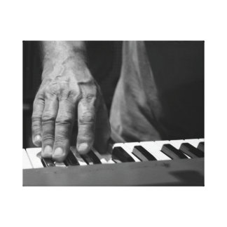 hand playing keyboard bw male music stretched canvas prints