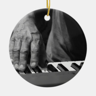 hand playing keyboard bw male music Double-Sided ceramic round christmas ornament