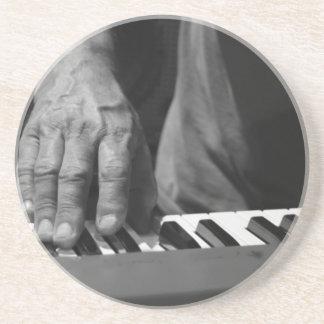 hand playing keyboard bw male music drink coasters