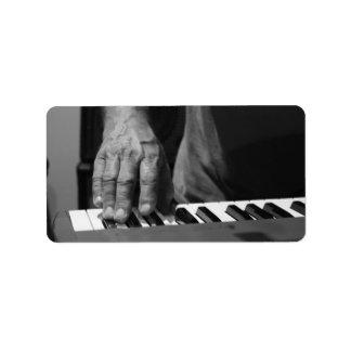 hand playing keyboard bw male music personalized address label