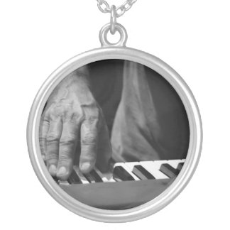 hand playing keyboard bw male music silver plated necklace