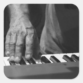 hand playing keyboard bw male music square sticker