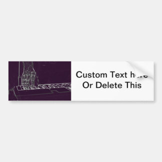 hand playing keyboard purple white ink outline bumper sticker