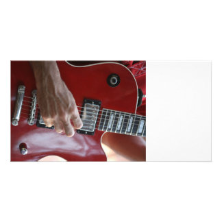 Hand playing red electric guitar near pickup personalized photo card