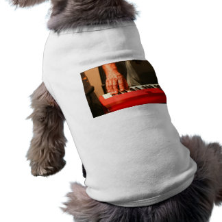 hand playing red keyboard male musician dog t shirt