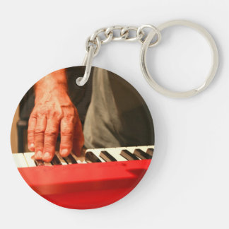 hand playing red keyboard male musician Double-Sided round acrylic keychain
