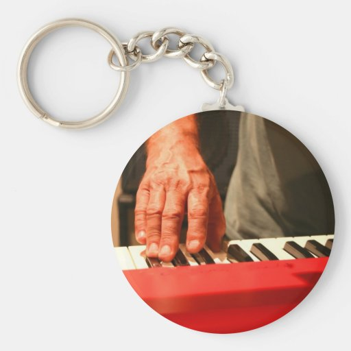 hand playing red keyboard male musician basic round button keychain
