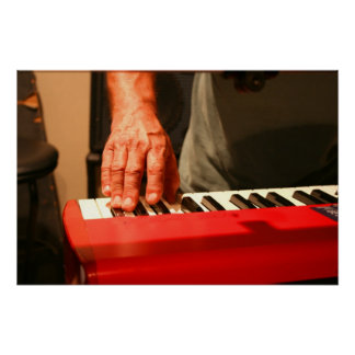 hand playing red keyboard male musician print