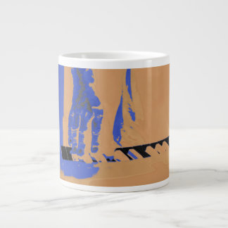 hand playing red keyboard orange blue male music giant coffee mug