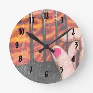 hand plucking four string bass grunge round clock