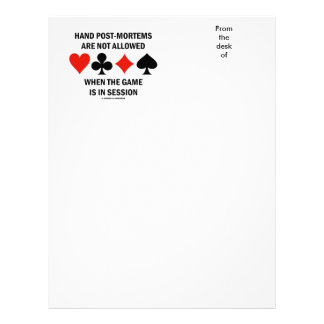 Hand Post-Mortems Are Not Allowed (Bridge Game) Letterhead