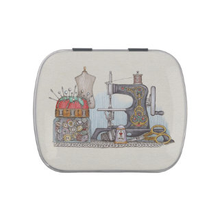 Hand Powered Sewing Machine Candy Tin