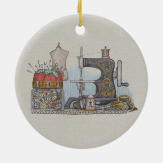 Hand Powered Sewing Machine Ceramic Ornament