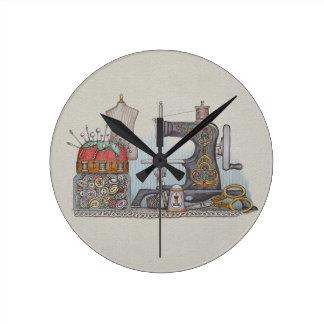Hand Powered Sewing Machine Round Wall Clocks