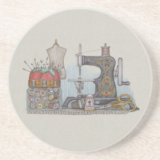 Hand Powered Sewing Machine Drink Coaster