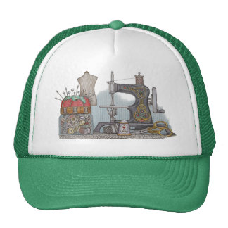 Hand Powered Sewing Machine Trucker Hat