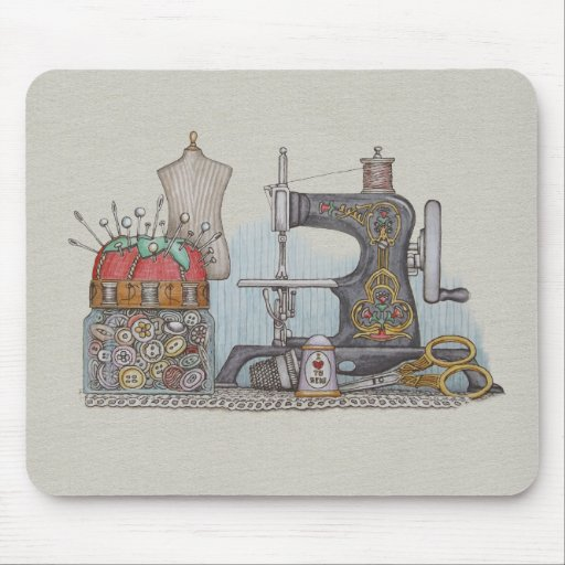 Hand Powered Sewing Machine Mousepads