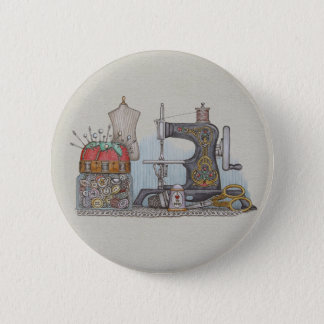 Hand Powered Sewing Machine Pinback Button