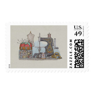 Hand Powered Sewing Machine Postage Stamps
