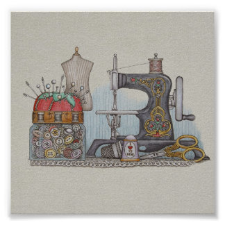 Hand Powered Sewing Machine Poster