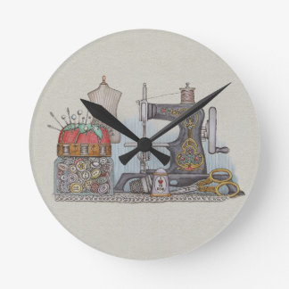 Hand Powered Sewing Machine Round Clock
